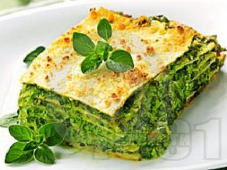 Зелена лазаня със спанак, сирене и извара - снимка на рецептата